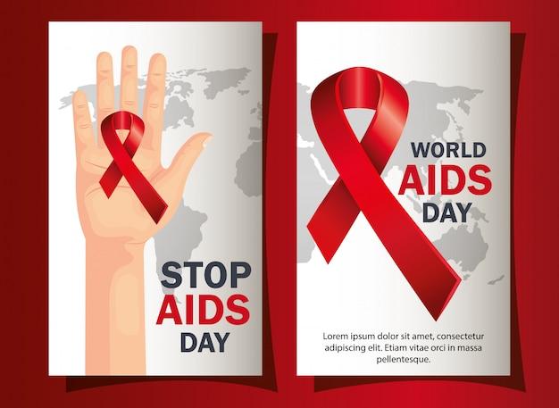 Ensemble de bannière de la journée mondiale du sida avec décoration