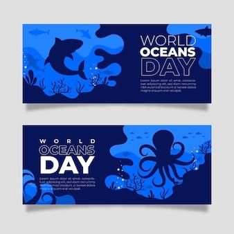 Ensemble de bannière de la journée mondiale des océans