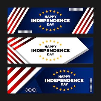 Ensemble de bannière joyeux jour de l'indépendance
