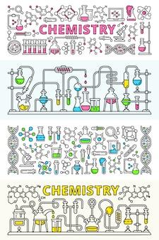 Ensemble de bannière de laboratoire de chimie
