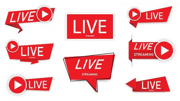 Ensemble de bannière de logo de streaming en direct. bannière de diffusion en direct.
