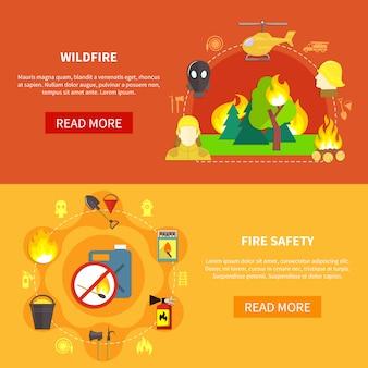 Ensemble de bannière de lutte contre les incendies