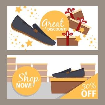 Ensemble de bannière de magasin de chaussures hommes