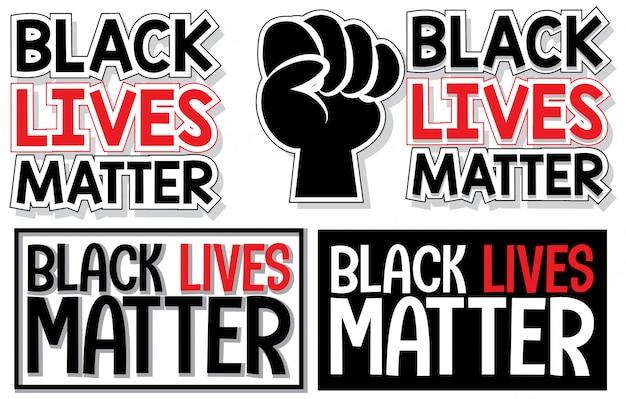 Ensemble de bannière de matière de vies noires