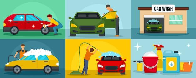 Ensemble de bannière de nettoyage de lavage de voiture