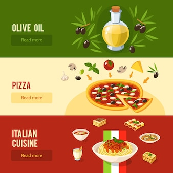 Ensemble de bannière de nourriture italienne