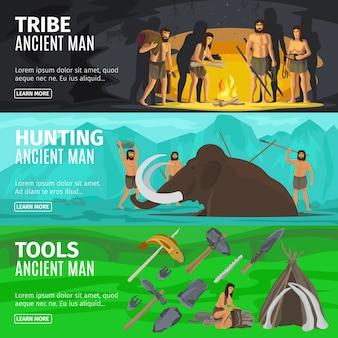 Ensemble de bannière paléolithique
