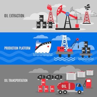 Ensemble de bannière de pétrole