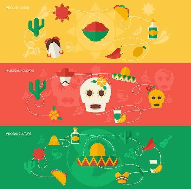 Ensemble de bannière plat mexique