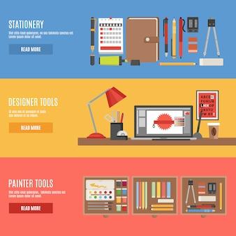 Ensemble de bannière pour outils de peintre et concepteur