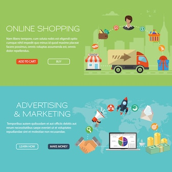 Ensemble de bannière pour le shopping et le marketing en ligne