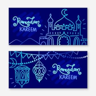 Ensemble de bannière de ramadan dessiné à la main