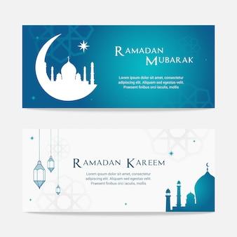 Ensemble de bannière ramadan mubarak et ramadan kareem