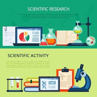 Ensemble de bannière de recherche scientifique