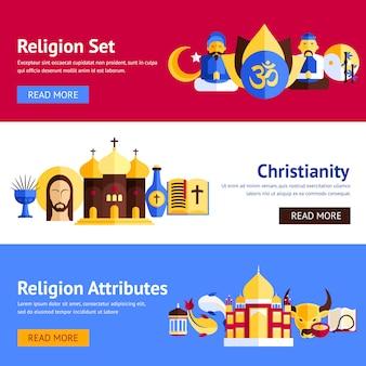 Ensemble de bannière de religion