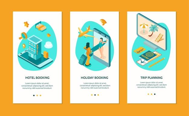 Ensemble de bannière de réservation d'hôtel en ligne
