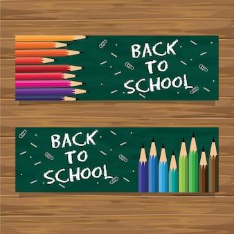 Ensemble de bannière de retour à l'école avec crayon de couleur
