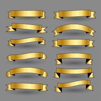 Ensemble de bannière de rubans dorés