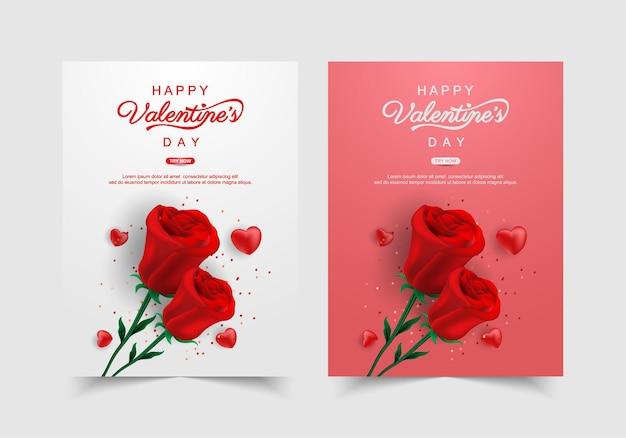 Ensemble de bannière de la saint-valentin avec fleur. modèle de promotion et de magasinage ou par amour