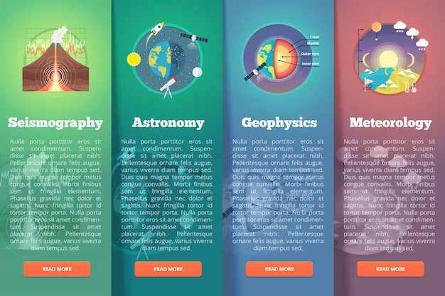 Ensemble de bannière de science planète terre. sismographie. astronomie. géophysique. météorologie. concepts de mise en page verticale de l'éducation et de la science. style moderne.