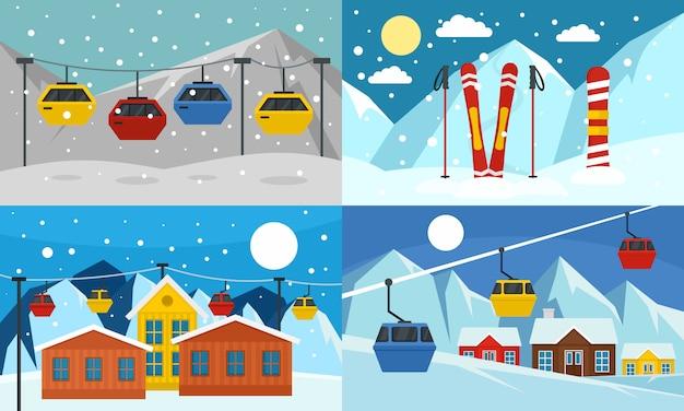 Ensemble de bannière de station de ski