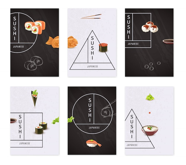Ensemble de bannière de sushi japonais