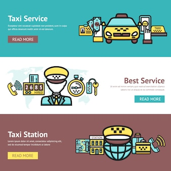 Ensemble de bannière de taxi