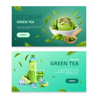 Ensemble de bannière de thé vert