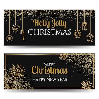 Ensemble de bannière de thème de noël et du nouvel an noir et or décoré de paillettes.