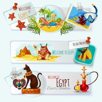 Ensemble de bannière touristique en egypte
