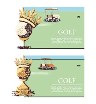 Ensemble de bannière de tournoi de golf trophées