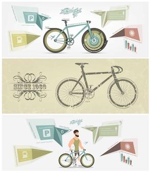 Ensemble de bannière de vélo.