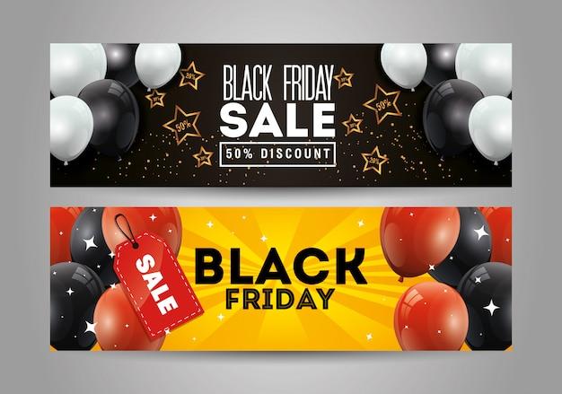 Ensemble de bannière de vendredi noir avec décoration d'hélium de ballons