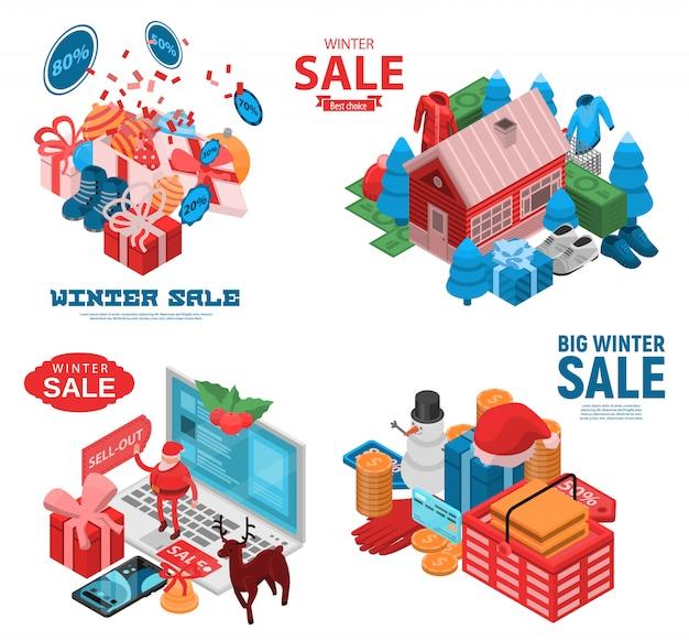 Ensemble de bannière de vente finale d'hiver. ensemble isométrique de bannière de vecteur vente finale hiver pour la conception web