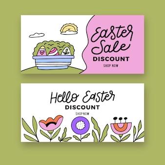 Ensemble de bannière de vente de pâques dessinés à la main