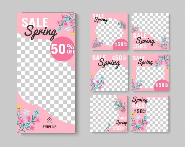 Ensemble de bannière de vente de printemps