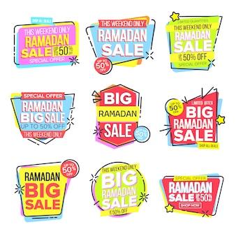 Ensemble de bannière de vente ramadan