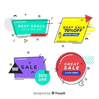 Ensemble de bannière de vente de style coloré memphis