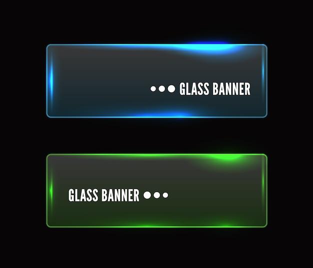 Ensemble de bannière en verre transparent moderne, brillant