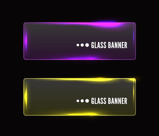 Ensemble de bannière en verre transparent moderne, rose et jaune brillant
