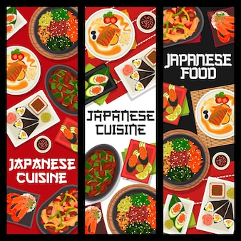 Ensemble de bannière verticale de cuisine japonaise