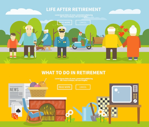 Ensemble de bannière de vie des retraités