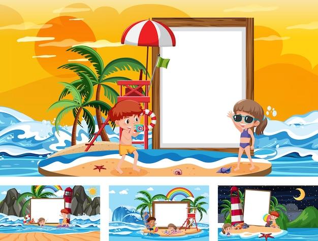 Ensemble de bannière vierge dans différentes scènes de plage tropicale
