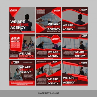 Ensemble de bannière web carré de promotion moderne pour les applications mobiles de médias sociaux