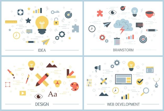 Ensemble de bannière web de créativité. brainstorming, idée,