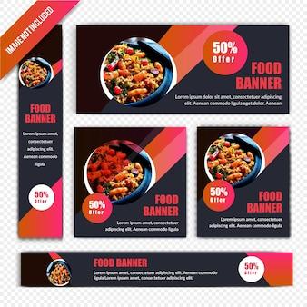 Ensemble de bannière web discount restaurant