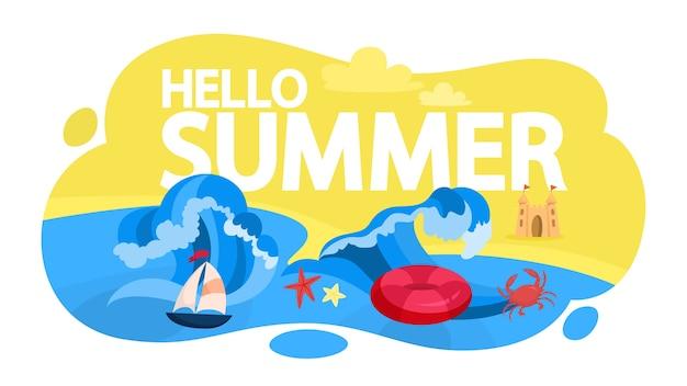 Ensemble de bannière web d'été. collection de voyage