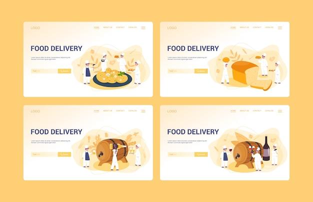 Ensemble de bannière web de menu de livraison de nourriture