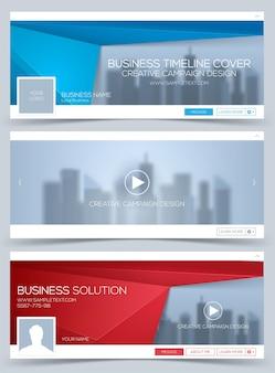 Ensemble de bannière web, modèle de disposition d'en-tête. couverture de la chronologie créative.