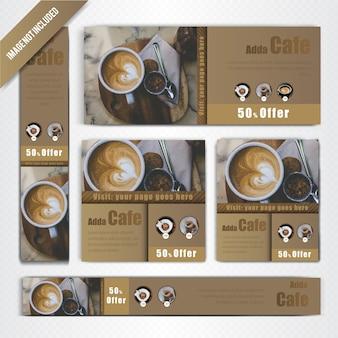 Ensemble de bannière web pour coffee shop